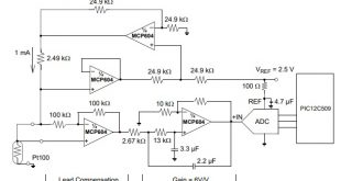single supply op-amp circuit for temperature measurement